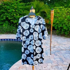 Aryeh Black & White Flower Print Dress